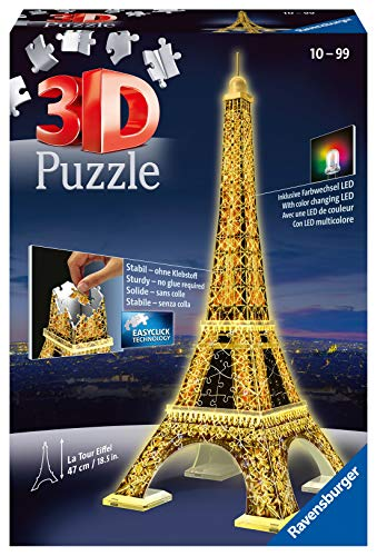 Ravensburger 3D Puzzle 12579 - Eiffelturm bei Nacht - 3D Puzzle für Kinder und Erwachsene, Wahrzeichen...
