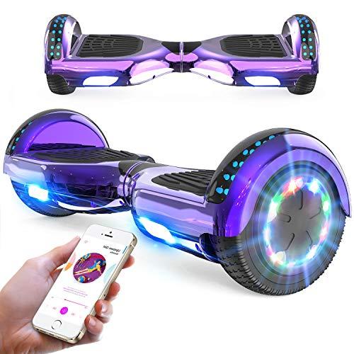 RCB Hoverboard 6,5 Zoll Elektro Skateboard für Kinder und Jugendliche Elektroroller mit Bluetooth - LED...