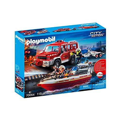 Playmobil 70054 Löscheinsatz Feuerwehr Feuerwehrfahrzeug mit Löschboot, Mehrfarbig