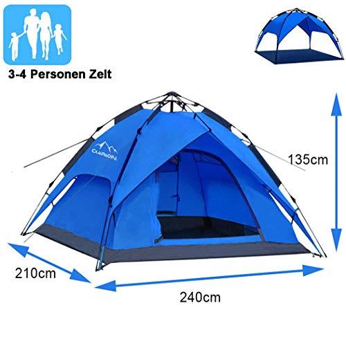 Campmore Wurfzelt 2/3/4 Personen, Sekundenzelt Campingzelt Kuppelzelt 240x210x135cm Blau