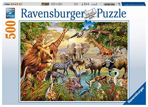 Ravensburger Puzzle 14809 - Am Wasserloch - 500 Teile Puzzle für Erwachsene und Kinder ab 10 Jahren,...