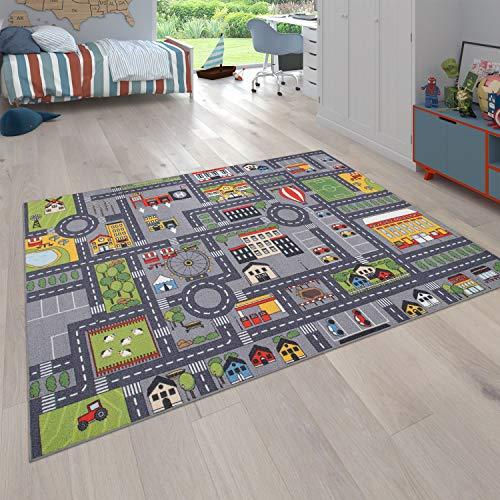 Paco Home Spielteppich Kinderteppich Kinderzimmer Straßenteppich Straßen Design, In Grau,...
