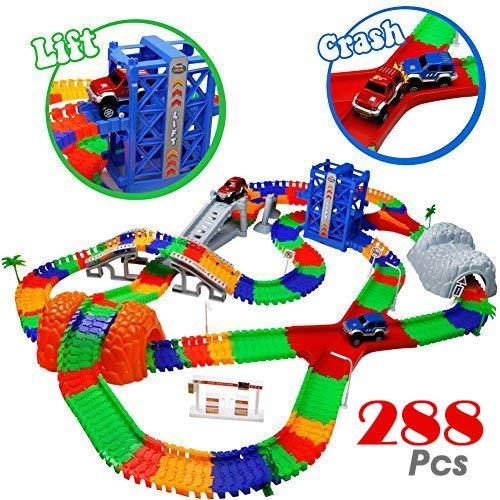 Car Track mit 2 Electric Auto Eisenbahn Autorennbahnen Montage Spielzeug Rennbahn Spiel Set für Kinder...