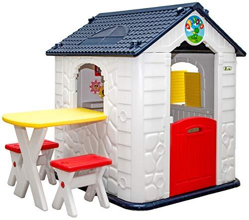 LittleTom Kinder Spielhaus ab 1 - Garten Kinderhaus mit Tisch - Indoor Kinderspielhaus - Kunststoff