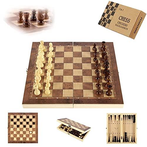 Sunshine smile Schachspiel aus Holz,3 in 1,Tragbare Holz Schachbrett,Chess Board Set klappbar,Schachspiel...