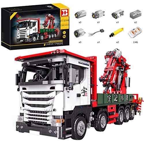 ReallyPow Technik Kran LKW, Kranwagen mit Motor, Fernbedienung und Licht, Schwerlastkran Bausatz...