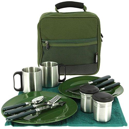 G8DS 13-teiliges Deluxe Campinggeschirr, Tassen und Besteck für 2 Personen Kochgeschirr...