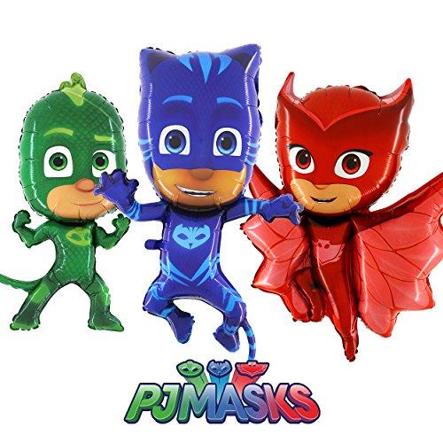 Pyjamahelden PJ Masks Folienballon Figuren 3er Pack mit Eulette, Gekko & Catboy - Geschenk Ballon...