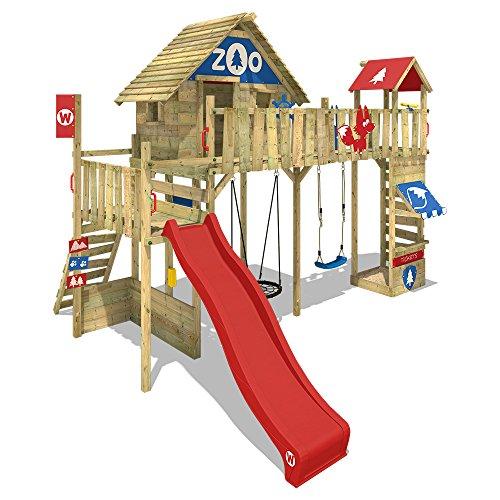 WICKEY Spielturm Smart Ranger Stelzenhaus Spielplatz auf 200cm Podesthöhe mit Holzdach, mit roter...