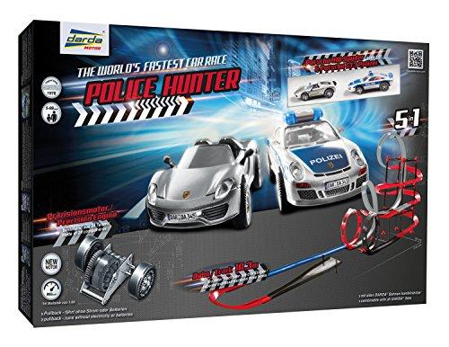 Darda 50249 Porsche Rennbahn Police Hunter, Bahnlänge Circa 10.30 m, rot/schwarz/grau/blau
