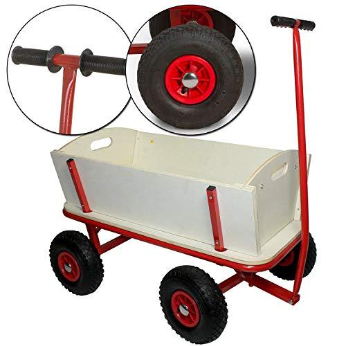 Bollerwagen Maxie Rot aus stabilem Holz und pulverbeschichtetem Stahl - Transportwagen mit Gummireifen -...