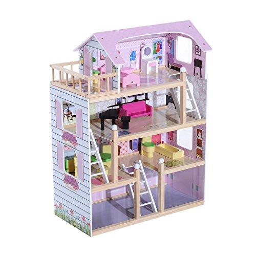 HOMCOM Kinder Puppenhaus Puppenstube Dollhouse 4 Etagen Holz mit Möbeln