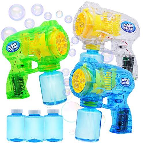 JOYIN 3 Seifenblasenpistole Set, Automatische Seifenblasenmaschine Gebläsemaschine mit 4...