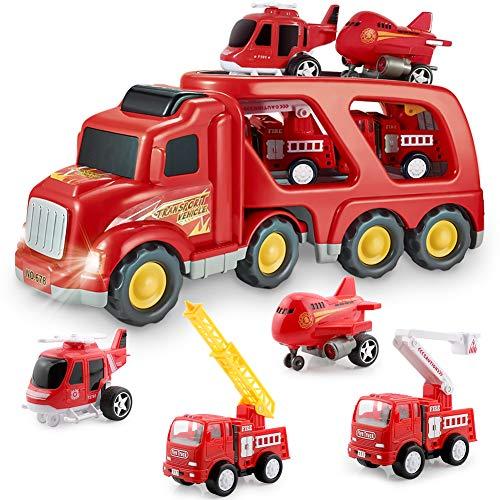 Feuerwehrauto Auto Spielzeug Set, Spiel Fahrzeug Set für Kinder Kleinkinder Jungen Kind Geschenk Alter 3...