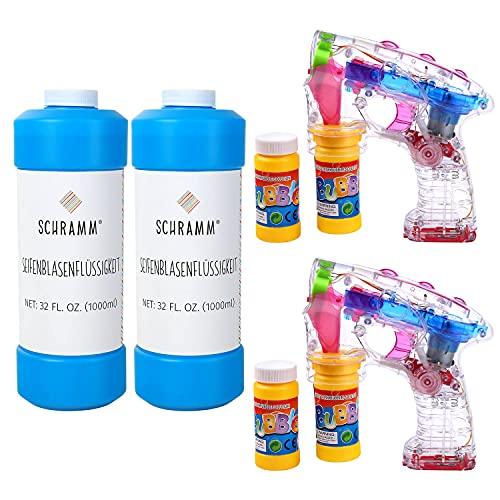 Schramm® 2 Stück Led Seifenblasenpistolen mit 2 Liter Seifenblasenlösung Seifenblasen Flüssigkeit...