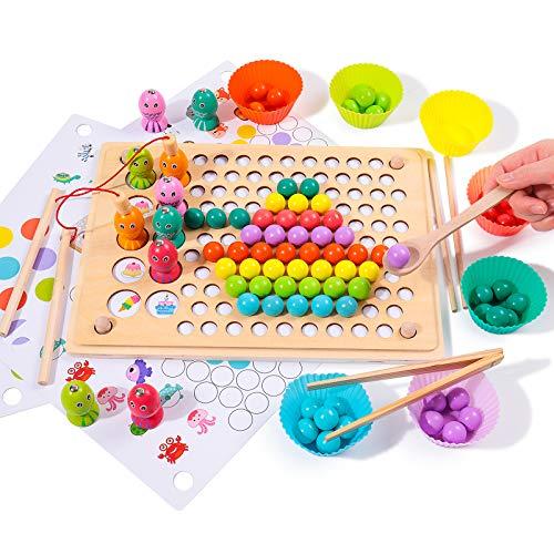 Rolimate Holzspielzeug Angelspiel Magnetisches Holzpuzzle Brettspiel, Clip Perlen Montessori Vorschule...