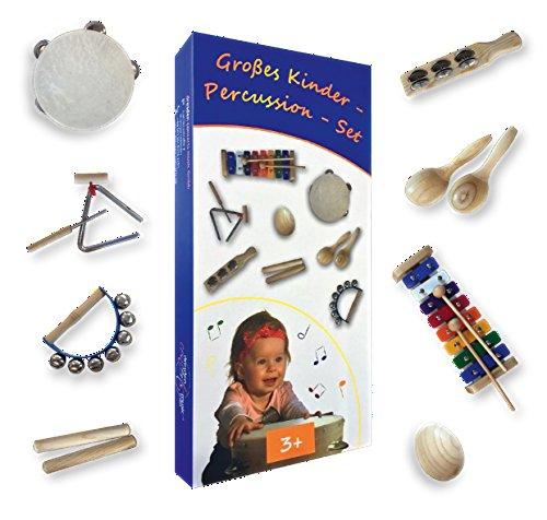 Großes Kinder-Percussion-Set,hochwertige Kinder Instrumente aus Holz, 10-teilg (FSC-zertifiziert)...