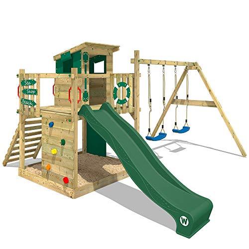 WICKEY Spielturm Klettergerüst Smart Camp mit Schaukel & grüner Rutsche, Baumhaus mit Sandkasten,...