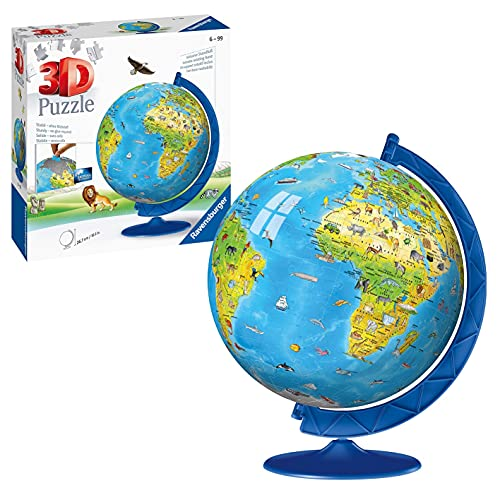Ravensburger 3D Puzzle 12338 - Kinderglobus in englischer Sprache - 180 Teile