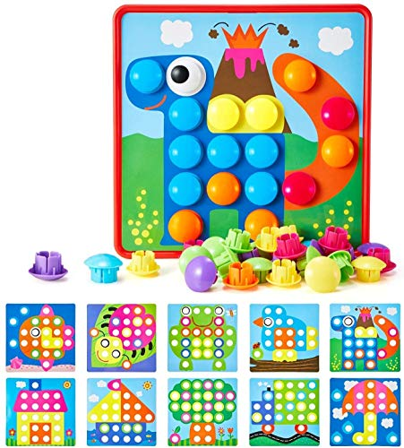 Geekper Mosaik Steckspiel für Kinder ab 2 Jahre, Steckmosaik mit 46 Steckperlen und 10 Bunten...