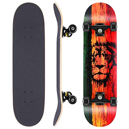 WeSkate Skateboard Komplettboard 79x20cm Holzboard mit ABEC-11 Kugellager 31 Zoll 7-lagigem kanadischem...