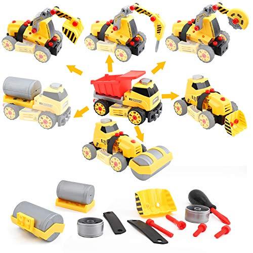 FORMIZON Montage Spielzeug Auto LKW, 7 in 1 BAU Bagger Spielzeug mit Schraubendreher, Montage LKW...