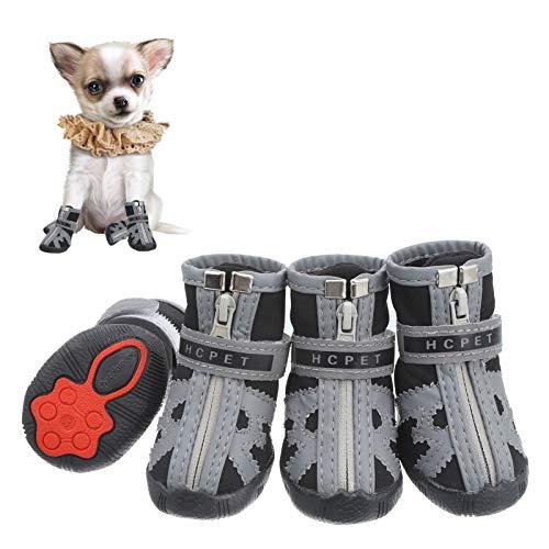Firtink 4Pcs Hundeschuhe pfotenschutz mit Anti-Rutsch Sohle reflektierendem Riemen Klettverschluss...
