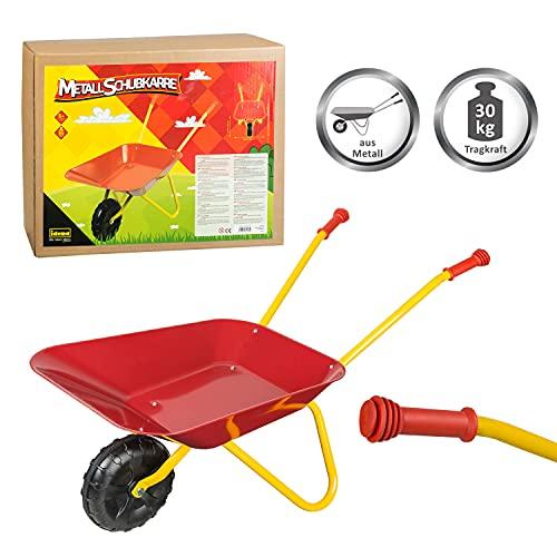 Idena 7131707 - Metallschubkarre für Kinder ab 24 Monaten in rot gelb, ca. 78 x 40 x 38 cm, ideal für...