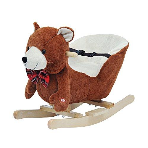 HOMCOM Schaukelpferd Kinder Schaukeltier Plüsch Schaukel Pferd Baby Schaukelspielzeug Geschenk für...