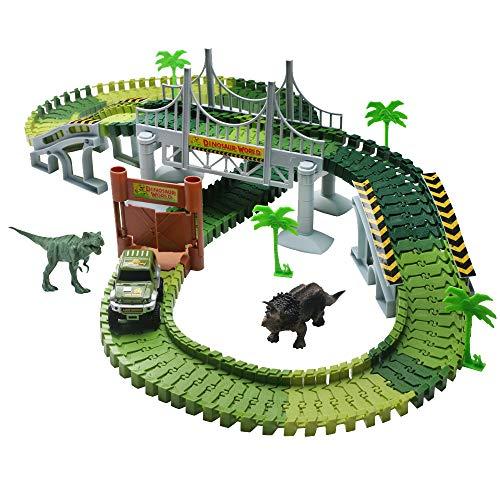 Rennbahn Autobahn Kinder Car Track mit Tracks Auto und Dinosaurier Autorennbahnen Jurassic Park Spielzeug...