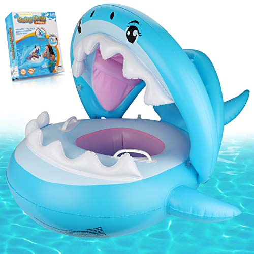 Weokeey Baby Schwimmring, Baby Schwimmsitz mit Sonnenschutz Dach Baby Schwimmreifen mit Glocken im...