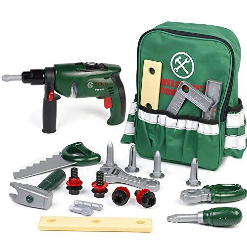 Werkzeugkoffer Kinder Rollenspiel mit 22 Stück Werkzeugen und Rucksack Tool Spielzeug Geschenke für...