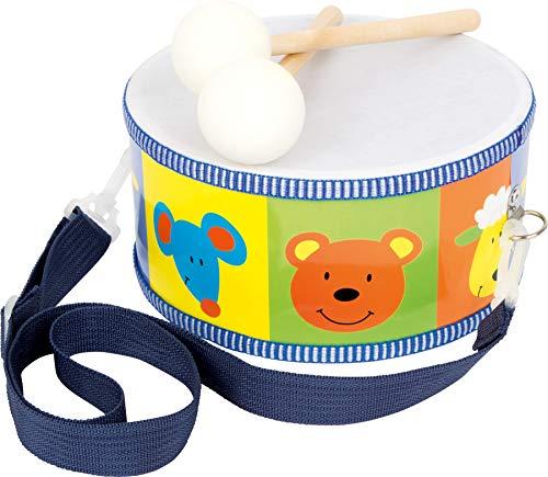 small foot 3315 Trommel / Musikinstrument aus Holz für Kinder mit bunten Tieren, Trageriemen und...