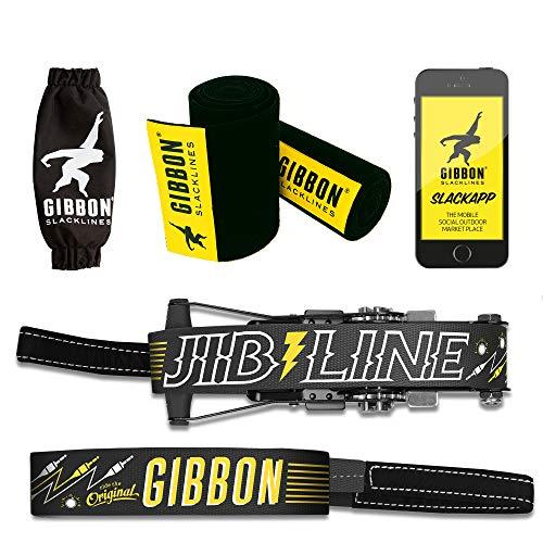 Gibbon Slacklines Jibline mit Treewear, Schwarz, 15 Meter (12,5m Band + 2,5m Ratschenband), inklusive...