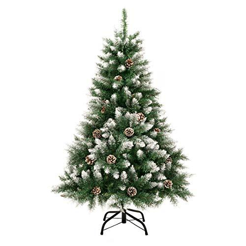 GIGALUMI 1.2M künstlicher Weihnachtsbaum mit Schnee und echten Tannenzapfen feuerfester Tannenbaum,...