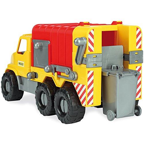 Wader Müllwagen mit Abnehmbarer Tonne, wetterfest und stabil, Made in EU || 46 cm Spielzeug LKW...
