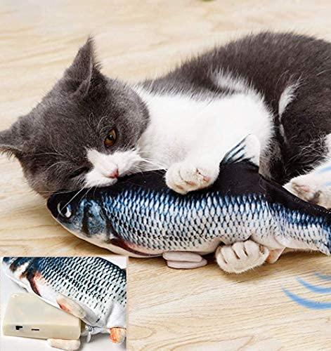 JuguHoovi Katzenspielzeug Fisch, Katzenspielzeug Elektrisch Fisch, Spielzeug Katze mit Katzenminze und...