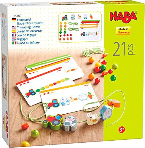 HABA 305780 - Fädelspiel Bauernhof-Freunde, Fädelspiel ab 3 Jahren, made in Germany