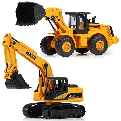 Baufahrzeuge Spielzeug, Bulldozer Grabenmaschine 2 Stück Bagger und 4 Stück Straße Zeichen,...