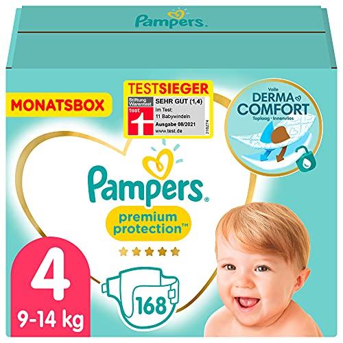 Pampers Baby Windeln Größe 4 (9-14kg) Premium Protection, 168 Stück, MONATSBOX, Pampers Weichster...