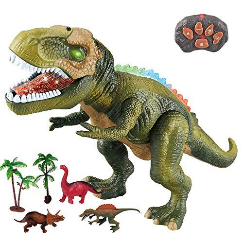 WISHTIME Fernbedienung Dinosaurier ElectricToy Kinder RC Tierspielzeug LED Leuchten Dinosaurier Gehen und...
