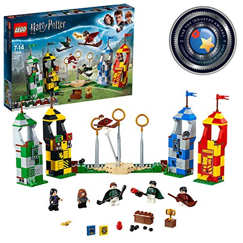 LEGO 75956 Harry Potter Quidditch Turnier Bauset, Gryffindor, Slytherin, Ravenclaw und Hufflepuff Türme,...