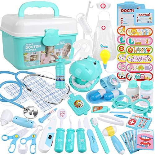Arzt Zubeh/ör Spielzeug Set Kinder Zahnarzt/Spielzeug Puppe Rollenspiele/Kinder Lernspielzeug Ostergeschenke/f/ür/Kinder ab 3 4 5 6 jahre Blau