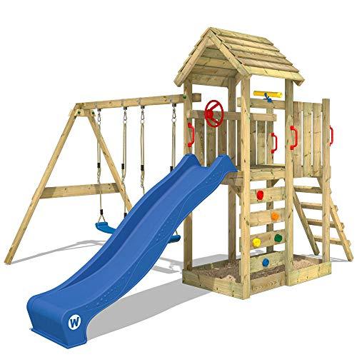 WICKEY Spielturm Klettergerüst MultiFlyer Holzdach mit Schaukel & blauer Rutsche, Kletterturm mit...