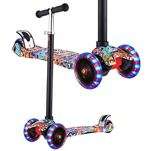 WeSkate Roller Kinder Dreiradscooter mit PU Leuchtenden Räder, einstellbaren Höhe und Doppel-Hinterrad...