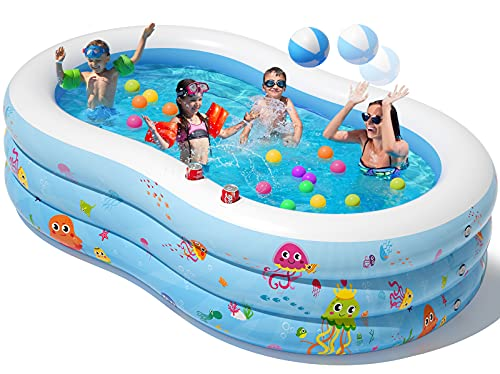 Peradix Aufblasbare Pool, 240 x 150 x 60 cm Groß Familienpool, Schwimmbecken Planschbecken, Schwimmbad...