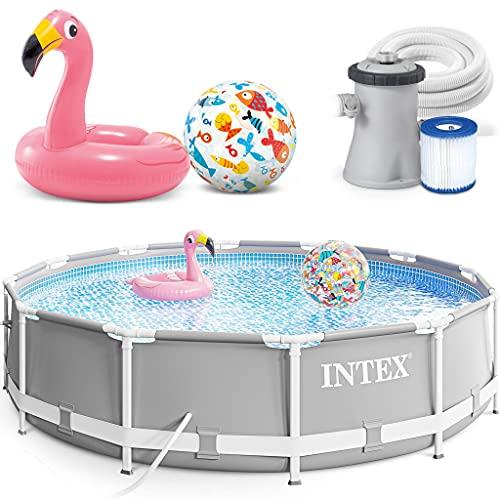 INTEX 305x76 cm Prism Metal Frame Swimming Pool Schwimmbecken 26702 mit Extra-Zubehör wie: Schwimmreifen...