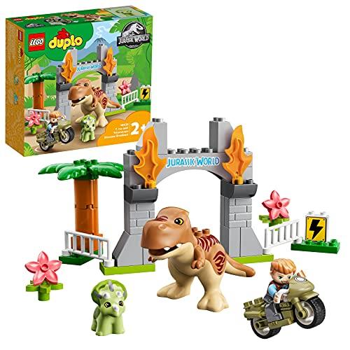 LEGO 10939 DUPLO Jurassic World Ausbruch des T-Rex und Triceratops, Dinosaurier Spielzeug Set für...