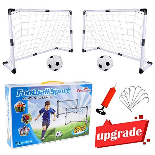 Dreamon 2er Set Kinder Fußballtore mit Fußball ,Tore und Pumpe Fussball Interaktiv Minitore Spielzeug...