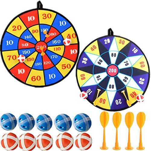 Towinle Dartscheibe Kinder Wurfspiel mit 2 Klett Dartscheibe,10 Bällen und 4 Pfeile Klettballspiel Set...